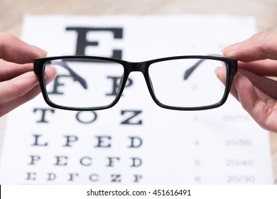 Concept of Eyes care for healthy eyes. Focus on eyeglasses.