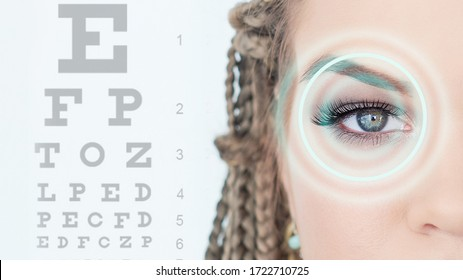 Concept of eyesight verification, diagnosis, disease and clinical treatment. medicine, eyesight control, laser correction, people. beautiful young woman pointing over blue background with eye chart
