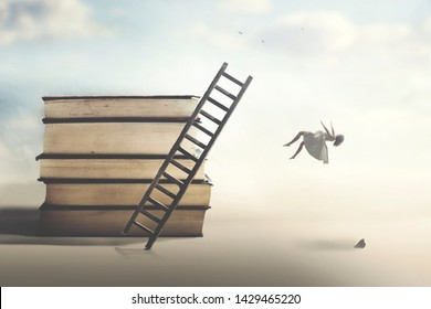 concept of failure with a woman falling from a ladder