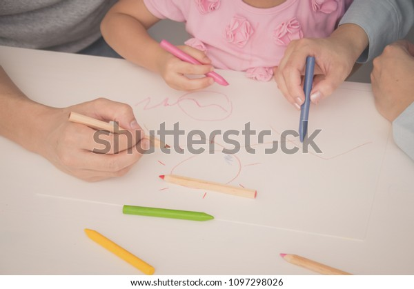 Concept Family Familys Drawing Activities Home Stock Photo Edit