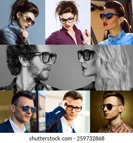 The concept  fashion beauty female and male. Collage of young women and men in glasses wearing in trendy clothes, with make up and accessories. Close up. Studio shot and street shot