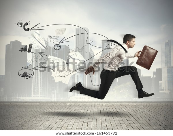 Concept of Fast business with running businessman