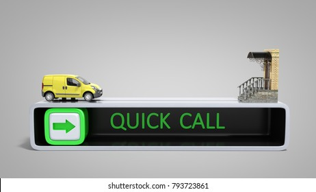 concept of fast order of express delivery at the door 3d render on grey