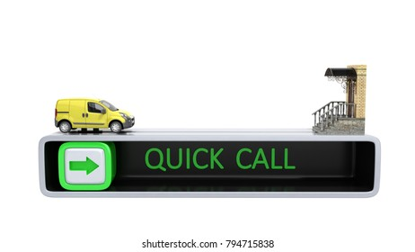 concept of fast order of express delivery at the door 3d render on white no shadow