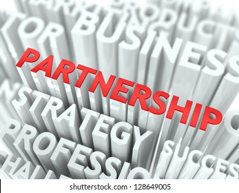 Concept Featuring Partnership Terms. Partnership Word Cloud Concept.