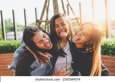 Concept of female friendship.portrait funny joyful attarctive Girls group having fun, smiling, lovely moments of a best friends.