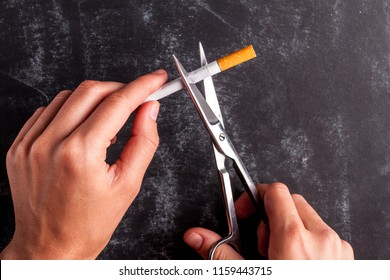 The concept of the fight against smoking and nicotine addiction. A man cuts a cigarette with scissors. Concept stop smoking. Quit smoking. Smoking concept
