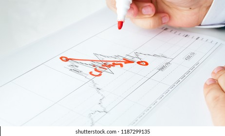 Concept of financial crisis. Businessman drawing decreasing graph on data chart