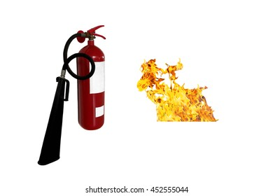 Concept Fire extinguisher and flame isolated on white background