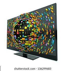 A concept of a flat screen television  with colorful fragmented cubes emitting out of the screen on an isolated background