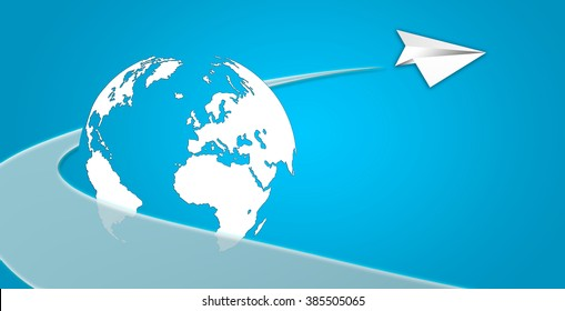 Concept of flying with paper plane with stroke and globe. Blue and white