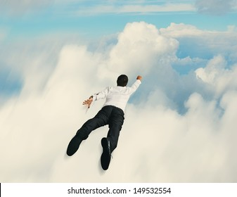 concept of flying super hero businessman