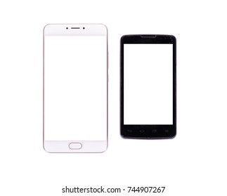 concept frame of  new and old smartphone isolated on white background