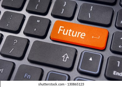 concept of future, with a message on enter key of keyboard.