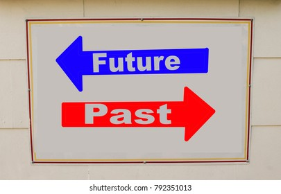 concept of future and past written on the sign in the wall