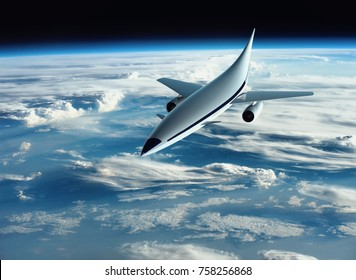 The concept of a futuristic hypersonic passenger aircraft flying high above the Earth. Space tourism. 3D rendering. Elements of this image furnished by NASA.