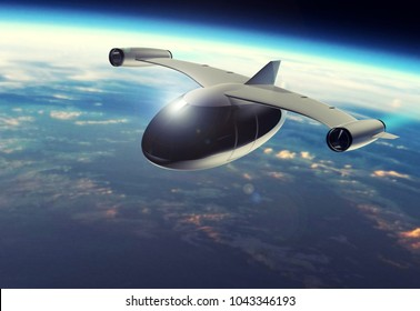 The concept of a futuristic passenger aircraft flying high above the Earth. Space tourism. 3D rendering. Elements of this image furnished by NASA.