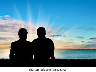 Concept of gay people. Silhouette of two gay men resting on a background of blue sea and sky