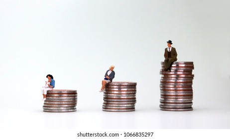 The concept of gender inequality. Wage and biased against women for childcare concepts.
