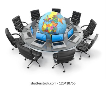 Concept of global business communication. Laptops and armchairs around table with earth. 3d