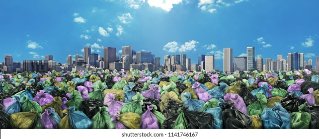 Concept of global pollution. Trash sea on a city skyline background. Save the planet.