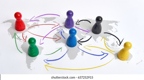 Concept for globalization, global networking, travel or global connection. Colorful figures with connecting arrows.