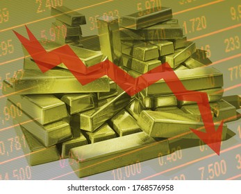 Concept of gold market going down, economic crisis. Ingots on table with red arrow going down.