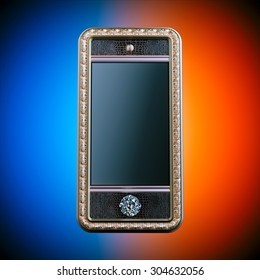 Concept of the golden smartphone