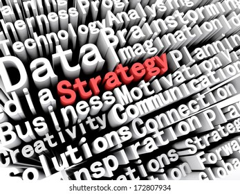"""A concept graphic depicting business words aligned next to each other with the word """"strategy"""" written in red . Rendered against a white background with a soft shadow."""