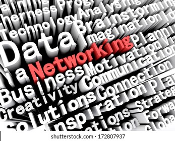 """A concept graphic depicting business words aligned next to each other with the word """"networking"""" written in red . Rendered against a white background with a soft shadow."""