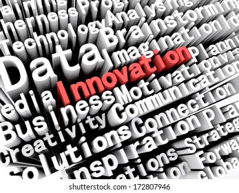 """A concept graphic depicting business words aligned next to each other with the word """"innovation"""" written in red . Rendered against a white background with a soft shadow."""