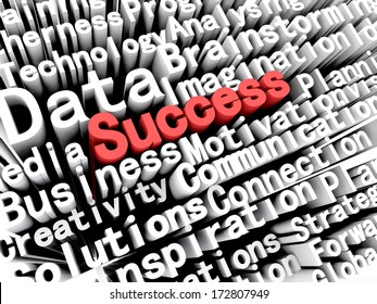 """A concept graphic depicting business words aligned next to each other with the word """"success"""" written in red . Rendered against a white background with a soft shadow."""