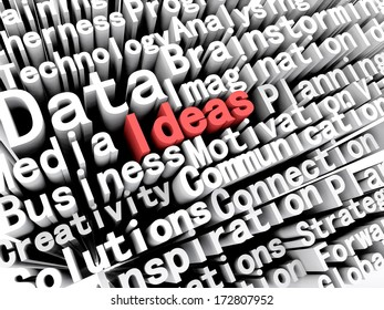 """A concept graphic depicting business words aligned next to each other with the word """"ideas"""" written in red . Rendered against a white background with a soft shadow."""