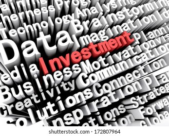 """A concept graphic depicting business words aligned next to each other with the word """"investment"""" written in red . Rendered against a white background with a soft shadow."""