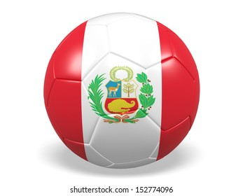 A concept graphic depicting a football/soccer ball with a Peru flag. Rendered against a white background with a soft shadow and reflection.