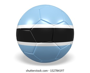 A concept graphic depicting a football/soccer ball with a Botswana flag. Rendered against a white background with a soft shadow and reflection.