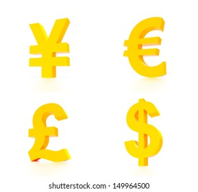 A concept graphic depicting four leading world currencies. Rendered against a white background with a soft shadow and reflection.