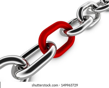 A concept graphic depicting a set of strong linked chains. Rendered against a white background with a soft shadow and reflection.