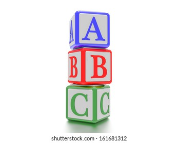A concept graphic depicting three toy blocks with the letters A, B and C on it. Rendered against a white background with a soft shadow and reflection.