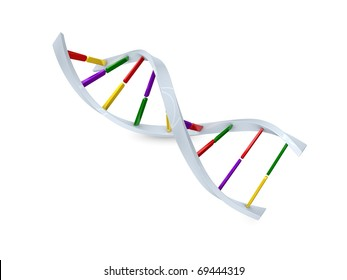 Concept graphic; DNA cell structure, isolated on white background.