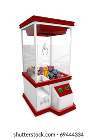 Concept graphic; Prize machine, isolated on white background.