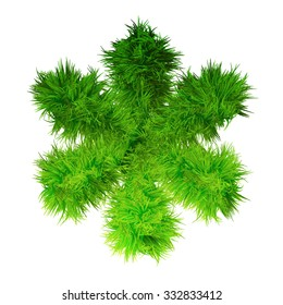 Concept green grass, ecology font, part of a set or collection isolated on white background for nature, summer, spring, alphabet, ecology, environment, plant, winter, ecological, conservation design