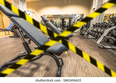 Concept of gyms closure for Covid-19 pandemic. Coronavirus Covid 19 quarantine lockdown of sport activities indoor. Concept of health and wellness in epidemic time. - Shutterstock ID 1841696653