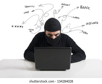 Concept of hacker at work with laptop