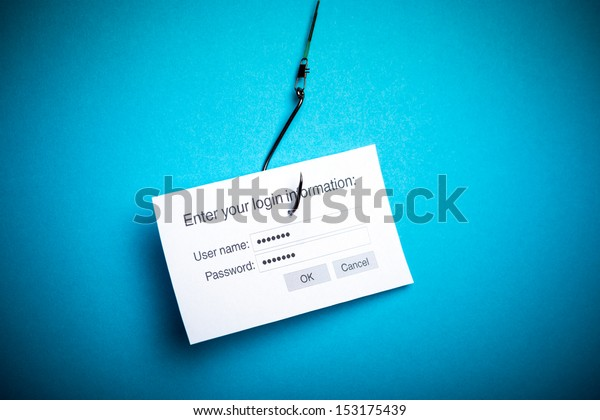 Concept of hacking or phishing a login and password with malware program. Isolated on blue background