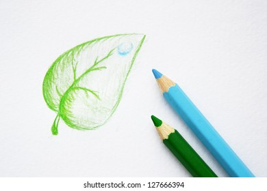Concept hand drawn leaf with pencils. Symbol of ecology
