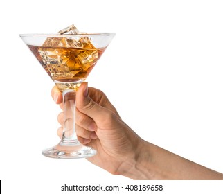 The concept of hand holding a glass beaker with alcohol drink with ice cubes. Isolated on white with clipping path