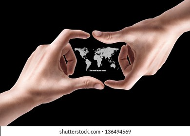 Concept. Hand with the map isolated on black background