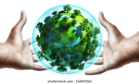 concept. hands holding a glowing earth globe in his hands