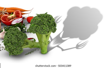 The concept of harm vegetables. Vegetables on a white background and broccoli which casts a shadow of evil creatures.3D illustration